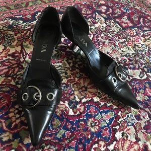 Prada pointed toe kitten heels 36 1/2